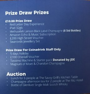 The selection of prizes on party night...