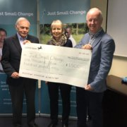 Presenting the cheque from our recent party night to Peter and Jane.