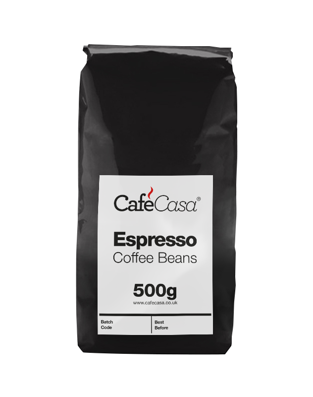 Espresso coffee beans from CafeCasa for an authentic hot drink.