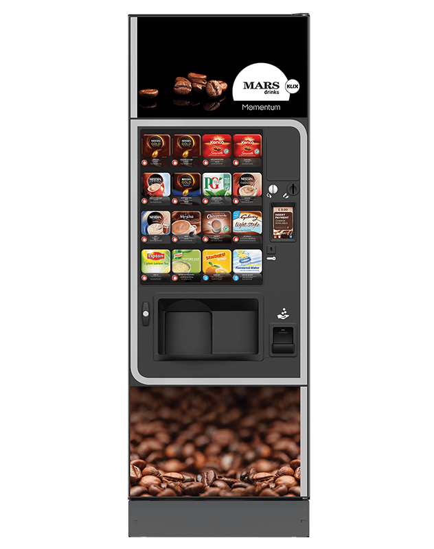 The Klix Momentum uses in-cup ingredients and dispenses your beverage in under 20 seconds.