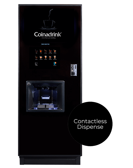 The Neo floor standing hot drinks machine offers a contactless delivery.