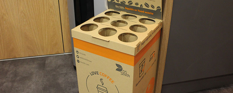 The coffee box is a new way to effectively recycle your used paper cups!