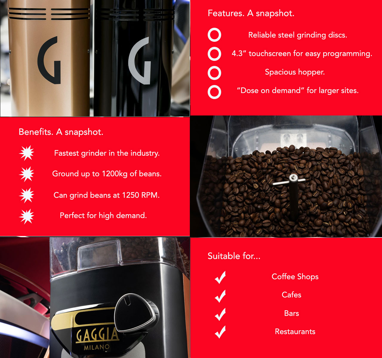 The Gaggia G10 coffee bean grinder is the perfect complement to your traditional coffee machine!