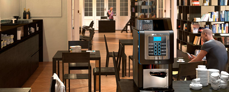 The Korinto Prime enhances its environment with a sharp design and fresh bean coffee.