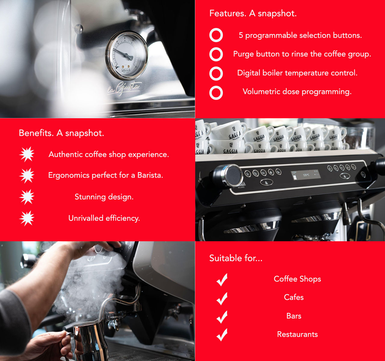 The Gaggia La Giusta traditional coffee machine delivers industry leading features for the modern day Barista.