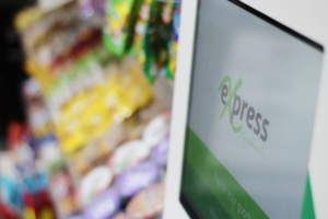 The Micro Market uses a cashless payment terminal.