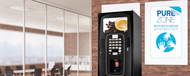 Purezone antimicrobial film works with a variety of Coinadrink vending machines to deliver a more hygienic experience.