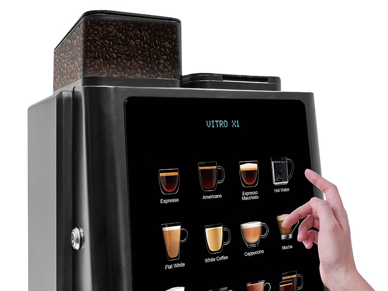 Enjoy a contactless dispense with the Vitro X1 office coffee machine.