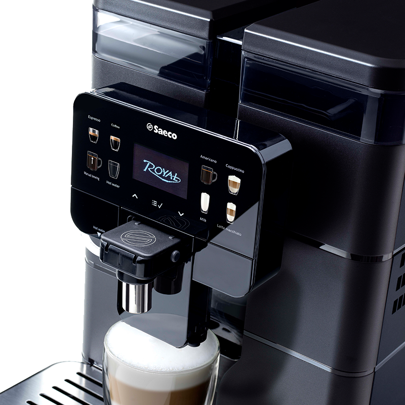 The Saeco Royal tabletop office coffee machine can be enjoyed with the optional fridge for truly fresh milk coffees.