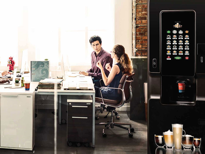 You can buy vending machines that offer floorstanding hot drinks.