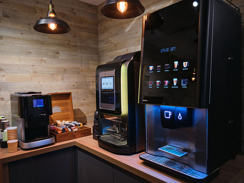 You can buy vending machines that offer tabletop hot drinks.