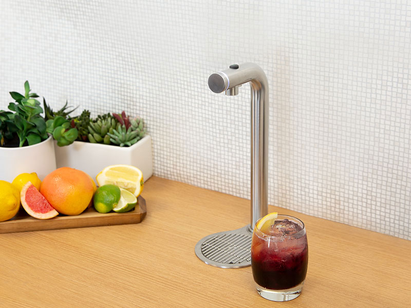 Stylish water taps deliver hot, cold and even sparkling water on demand.