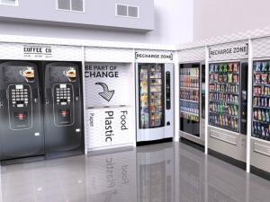 A snack vending machine is totally convenient.
