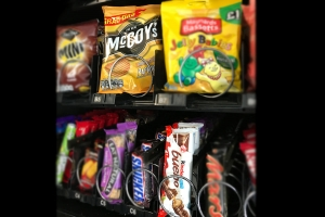 A snack vending machine stocks all your favourites.