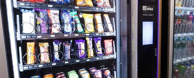 The benefits of a snack machine in the workplace.