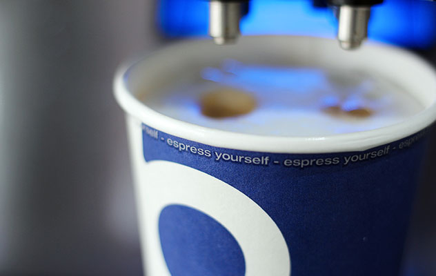 A tabletop coffee machine delivers coffee shop quality in under 30 seconds.
