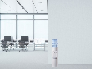 A water cooler will have a bottle sitting on top, where it draws its water from.