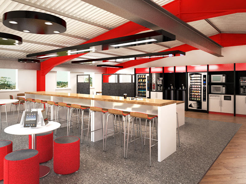 Corporate perks breakout areas